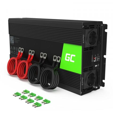Menič napätia Green Cell 24V na 230V, 1500W/3000W Čistá sínusoida INV19